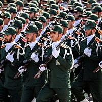 Members of Iran's Islamic Revolutionary Guard Corps (IRGC) march during the annual military parade marking the anniversary of the outbreak of the 1980-1988 war with Iraq, in the capital Tehran on September 22, 2018. (AFP/STR)