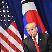US President Donald Trump looks on during a bilateral meeting with South Korean President Moon Jae-in in New York on September 24, 2018, a day before the start of the General Debate of the 73rd session of the General Assembly. (AFP PHOTO / Nicholas Kamm)
