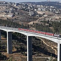 A section of the high speed Jerusalem-Tel Aviv train line on the outskirts of Jerusalem, on September 25, 2018. (Ahmad Gharabli/AFP)