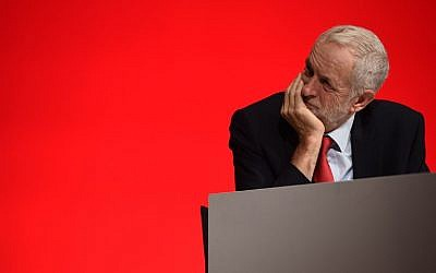 Britain's opposition Labour party leader Jeremy Corbyn looks on, on the third day of the Labour party conference in Liverpool, north west England on September 25, 2018. (Oli SCARFF/AFP)