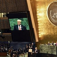 US President Donald Trump speaks during the General Debate of the 73rd session of the General Assembly at the United Nations in New York September 25, 2018. (AFP PHOTO / Nicholas Kamm)