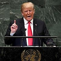 US President Donald Trump addresses the 73rd session of the General Assembly at the United Nations in New York September 25, 2018. / AFP PHOTO / TIMOTHY A. CLARY