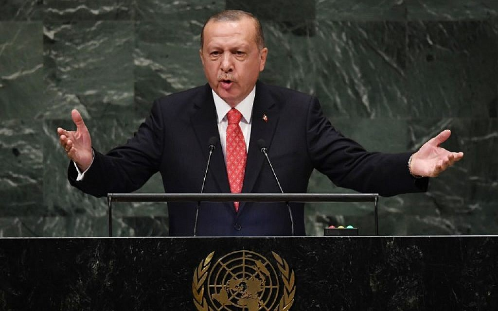 Turkish President Recep Tayyip Erdogan addresses the 73rd session of the General Assembly at the United Nations in New York on September 25, 2018. (AFP Photo/Timothy A. Clary)