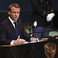 French President Emmanuel Macron addresses the 73rd session of the General Assembly at the United Nations in New York on September 25, 2018. (AFP Photo/Bryan R. Smith)