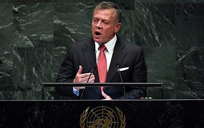 Jordan's King Abdullah II addresses the 73rd session of the General Assembly at the United Nations on September 25, 2018 in New York.  (AFP PHOTO / TIMOTHY A. CLARY)