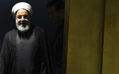 Iranian President Hassan Rouhani arrives to speak at the General Debate of the 73rd session of the General Assembly at the United Nations in New York on September 25, 2018. (AFP Photo/Timothy A. Clary)