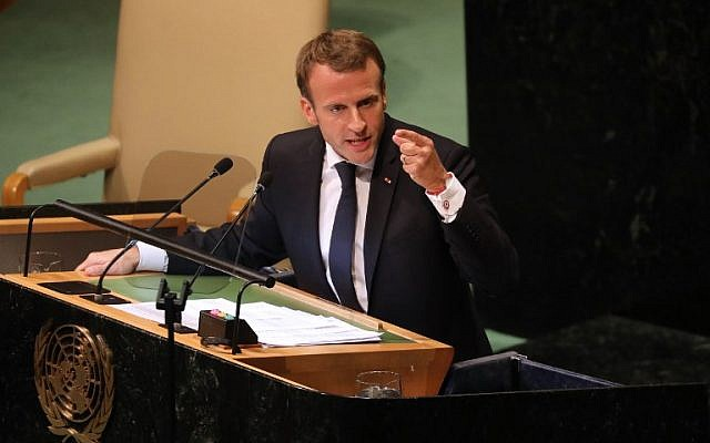 French President Emmanuel Macron delivers his speech during the annual general assembly at the United Nations headquarters in New York City on September 25, 2018.  (Ludovic MARIN/AFP)