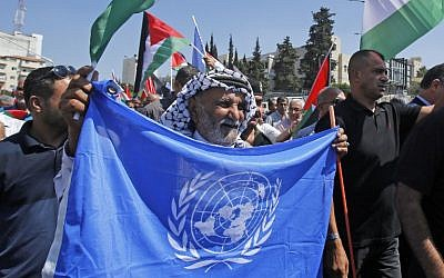 Palestinian protesters wave UN and national flags in front of a fabiricated giant refugee card of their President Mahmud Abbas, during a protest against the US decision earlier this year to cut funds to UN aid to Palestinians,  in  the West Bank city of Bethlehem, on September 26, 2018.  (AFP/Musa Al SHAER)