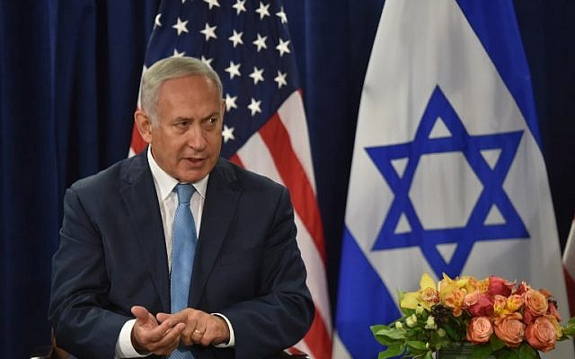 Prime Minister Benjamin Netanyahu speaks during a meeting with US President Donald Trump (out of frame) on September 26, 2018 in New York on the sidelines of the UN General Assembly (AFP PHOTO / Nicholas Kamm)
