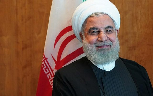 Iranian President Hassan Rouhani meets with UN Secretary General Antonio Guterres(not shown) in New York on September 26, 2018, on the sidelines of the United Nations General Assembly.  ( AFP PHOTO / Don EMMERT)