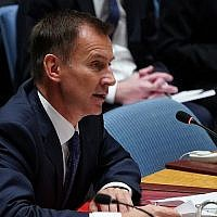 British Foreign Secretary Jeremy Hunt speaks at the United Nations Security Council meeting on North Korea, September 27, 2018 at the United Nations in New York. (AFP/Don Emmert)