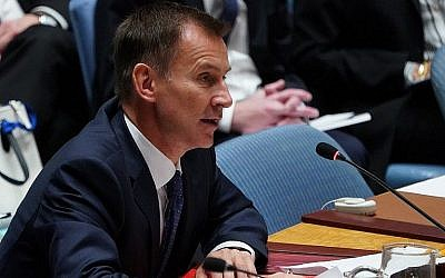 British Foreign Secretary Jeremy Hunt speaks at the the United Nations Security Council meeting on North Korea, September 27, 2018 at the United Nations in New York. (AFP/Don Emmert)