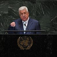 Palestinian Authority President Mahmoud Abbas addresses the 73rd session of the General Assembly at the United Nations in New York September 27, 2018. (TIMOTHY A. CLARY/AFP)