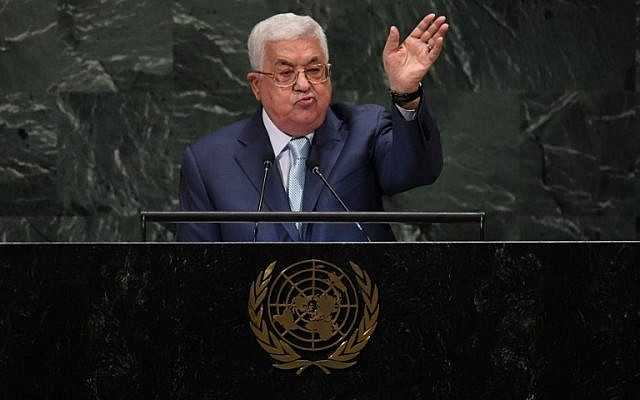 Palestinian Authority President Mahmoud Abbas addresses the 73rd session of the General Assembly at the United Nations in New York, September 27, 2018. (TIMOTHY A. CLARY/AFP)