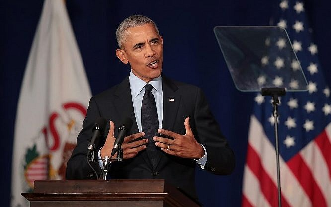 Former US President Barack Obama speaks to students at the University of Illinois where he accepted the Paul H. Douglas Award for Ethics in Government