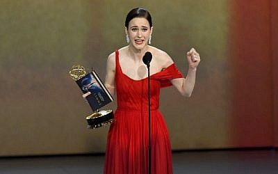 Rachel Brosnahan accepts the Outstanding Lead Actress in a Comedy Series award for 'The Marvelous Mrs. Maisel' onstage during the 70th Emmy Awards at Microsoft Theater on September 17, 2018 in Los Angeles, California. (Kevin Winter/Getty Images/AFP)