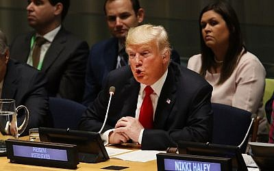 US President Donald Trump attends a meeting on the global drug problem at the United Nations with UN Ambassador Nikki Haley on September 24, 2018 in New York City. (Spencer Platt/Getty Images/AFP)