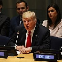 President Donald Trump attends a meeting on the global drug problem at the United Nations (UN) a day ahead of the official opening of the 73rd United Nations General Assembly on September 24, 2018 in New York City. ( Spencer Platt/Getty Images/AFP)