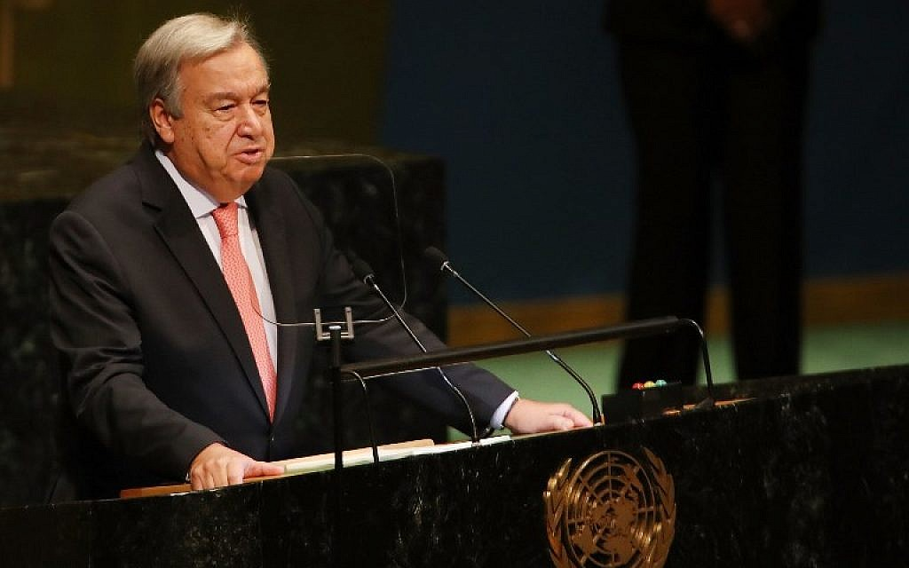 UN Secretary-General Antonio Guterres addresses the 73rd United Nations General Assembly on September 25, 2018, in New York City. (Spencer Platt/Getty Images/AFP)