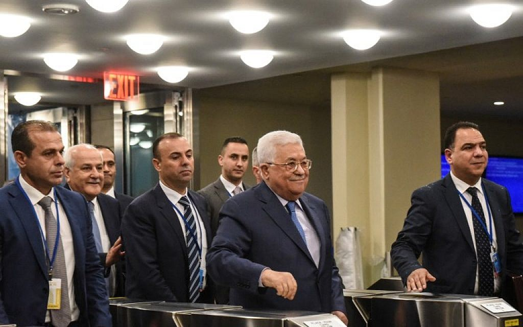 Palestinian Authority President Mahmoud Abbas arrives at the United Nations on September 25, 2018, in New York City. (Stephanie Keith/Getty Images/AFP)