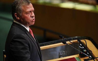 Jordan's King Abdullah II bin Al-Hussein addresses the 73rd United Nations (UN) General Assembly on September 25, 2018 in New York City. (Spencer Platt/ Getty Images/ AFP)