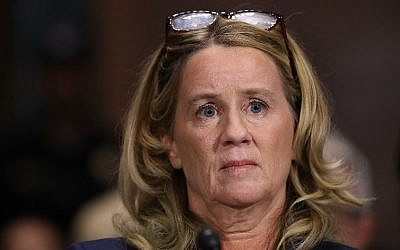 Christine Blasey Ford testifies before the Senate Judiciary Committee in the Dirksen Senate Office Building in Washington, DC on Capitol Hill, September 27, 2018. (Win McNamee/Getty Images/AFP)