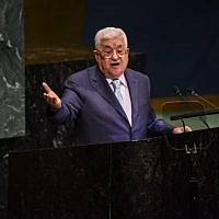 Palestinian Authority President Mahmoud Abbas delivers a speech to the United Nations General Assembly on September 27, 2018 in New York City. (Stephanie Keith/Getty Images/AFP)