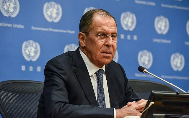 Russian Foreign Minister Sergey Lavrov holds a press briefing at the United Nations during the United Nations General Assembly in New York on September 28, 2018. (Stephanie Keith/Getty Images/AFP)