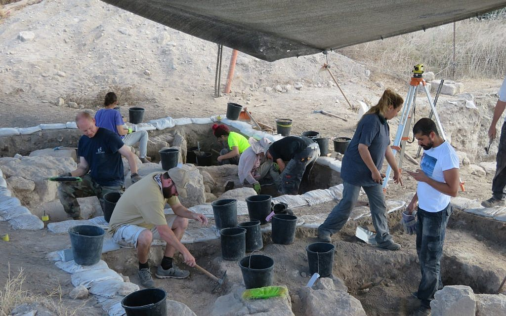 At the Beth Shearim archaeological excavation, August 2018, with American Veterans Archaeological Recovery. (Courtesy)