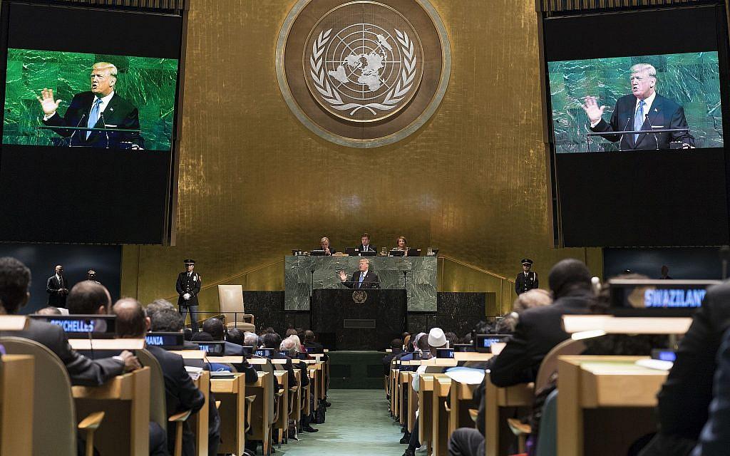 Donald Trump addressing the UN General Assembly on September 19, 2017. (UN/Mark Garten)