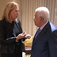 Tzipi Livni, left, meeting with Mahmoud Abbas in New York on September 25, 2018. Courtesy)