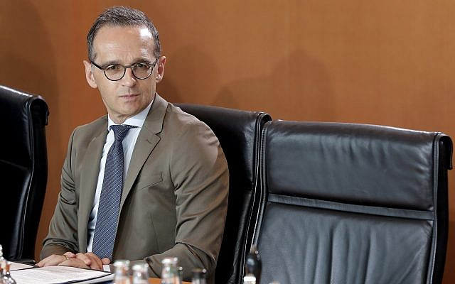 German Foreign Minister Heiko Maas attends the weekly cabinet meeting at the Chancellery in Berlin, May 30, 2018. (Michael Sohn/AP)