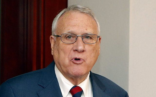 Former Sen. Jon Kyl, R-Ariz., talks about his appointment by Gov. Doug Ducey, R-Ariz., to fill Sen. John McCain's seat in the US Senate at a news conference at the Arizona Capitol September 4, 2018, in Phoenix. (AP Photo/Ross D. Franklin)
