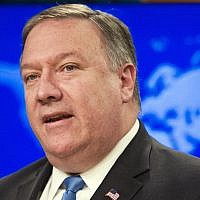 In this photo from August 16, 2018, US Secretary of State Mike Pompeo speaks at the State Department, in Washington. (AP Photo/Cliff Owen, file)