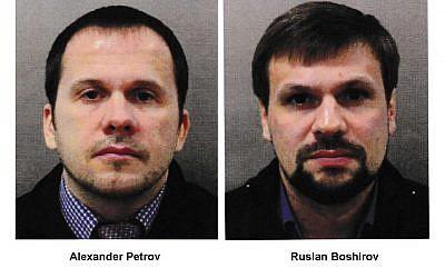 This combination photo made available by the Metropolitan Police on September 5, 2018, shows Alexander Petrov, left, and Ruslan Boshirov. (Metropolitan Police via AP)