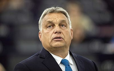 Hungary's Prime Minister Viktor Orban delivers his speech at the European Parliament in Strasbourg, eastern France, September 11, 2018. (AP Photo/Jean-Francois Badias)