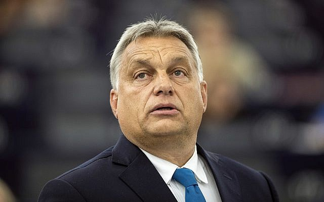 Hungary's Prime Minister Viktor Orban delivers his speech at the European Parliament in Strasbourg, eastern France, September 11, 2018. (AP Photo/Jean-Francois Badias)