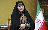 In this September 8, 2018 photo, Shahindokht Molaverdi, a top adviser to Iran's president on human rights, gives an interview to The Associated Press at her office in Tehran, Iran. (AP Photo/Ebrahim Noroozi)