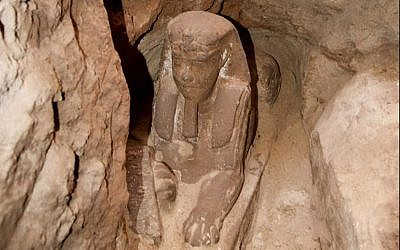 This undated photo released by the Egyptian Ministry of Antiquities shows a lion's body and a human head, in the Temple of Kom Ombo in Aswan, Egypt. The Antiquities Ministry said on September 16, 2018 that the sphinx made of sandstone was found in the temple during work to protect the site from groundwater. (Egyptian Ministry of Antiquities via AP)