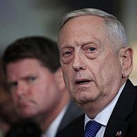 US Defense Secretary Jim Mattis responds to a reporter's question during a meeting with Philippine Secretary of National Defense Delfin Lorenzana at the Pentagon, on September 18, 2018. (AP Photo/Manuel Balce Ceneta)