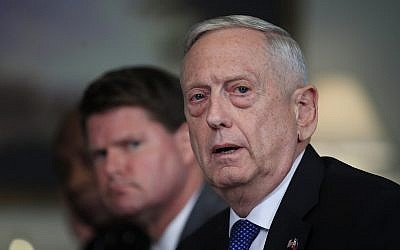 US Defense Secretary Jim Mattis responds to a reporter's question during a meeting with Philippine Secretary of National Defense Delfin Lorenzana at the Pentagon, on September 18, 2018. (AP Photo/Manuel Balce Ceneta)
