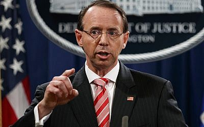 In this July 13, 2018, file photo, Deputy Attorney General Rod Rosenstein speaks during a news conference at the Department of Justice in Washington. (AP Photo/Evan Vucci)