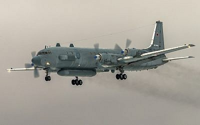 In this file photo taken on Saturday, March 4, 2017, the Russian Ilyushin Il-20 electronic intelligence plane of the Russian air force with the registration number RF 93610, which was accidentally downed by Syrian forces responding to an Israeli air strike, flies near Kubinka airport, outside Moscow, Russia. (AP Photo/Marina Lystseva)