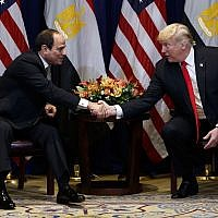 US President Donald Trump, right, meets with Egyptian President Abdel-Fattah el-Sisi at the Lotte New York Palace hotel during the United Nations General Assembly, September 24, 2018, in New York. (Evan Vucci/AP)