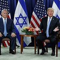 US President Donald Trump (right) and Prime Minister Benjamin Netanyahu meet at the United Nations General Assembly on September 26, 2018, at UN Headquarters (AP Photo/Evan Vucci)