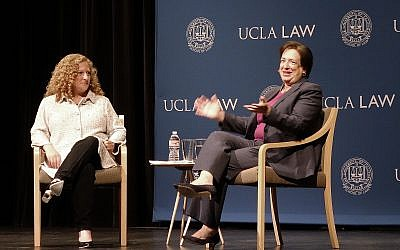 US Supreme Court Justice Elena Kagan (r) waits to begin a discussion at the University of California, Los Angeles, with UCLA Law School Dean Jennifer Mnookin, September 27, 2018. (AP Photo/Brian Melley)