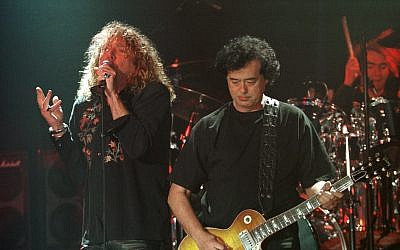 In this March 5, 1998, photo, Led Zeppelin's Robert Plant, left, performs with guitarist Jimmy Page during their concert in Istanbul. (AP Photo/Murad Sezer)
