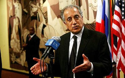 Zalmay Khalilzad then US ambassador to the United Nations speaks to reporters