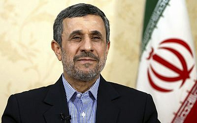 Former Iranian President Mahmoud Ahmadinejad gives an interview to The Associated Press at his office in Tehran, Iran,  April 15, 2017. (Ebrahim Noroozi/AP)