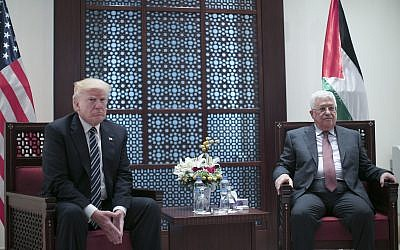 Palestinian Authority President Mahmoud Abbas, right, meets US President Donald Trump In the West Bank city of Bethlehem on May 23, 2017. (Fadi Arouri, Xinhua Pool via AP)